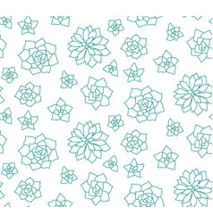 Line art succulent plant seamless pattern on vector