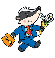 Little funny badger goes to school vector