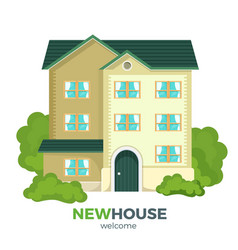 New multistorey house promotional poster with vector