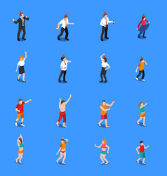 People during celebration isometric icons set vector