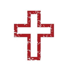 Red grunge christianity logo vector