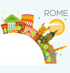 Rome skyline with color buildings blue sky and vector