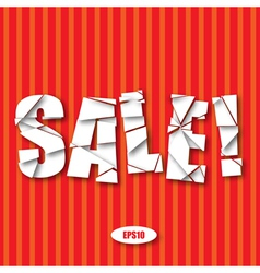 Sale Cut Paper Poster on red stripes background vector image vector image