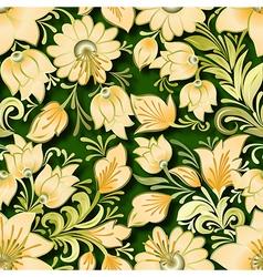 Seamless lighten floral ornament on green vector