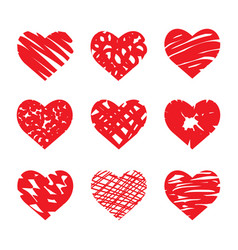 set of hand drawn hearts red color vector image vector image