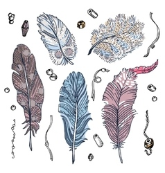 Set of sketched feathers beads and ribbons vector
