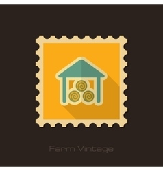 Shed retro flat stamp with long shadow vector