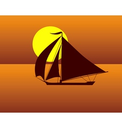 silhouette of a sea turtle boat against the evenin vector image vector image