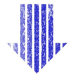 Stripe arrow down grunge textured icon vector