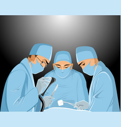 Surgeons in the operating room vector