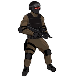 SWAT team member FN2000 tan vector image