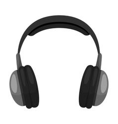 Vintage headphones icon in monochrome style vector image vector image