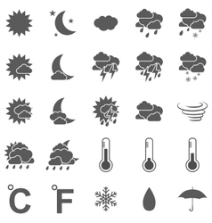 weather icon set black on white background vector image