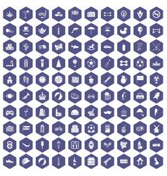 100 ball icons hexagon purple vector
