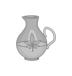 Pitcher of marijuana icon black monochrome style vector
