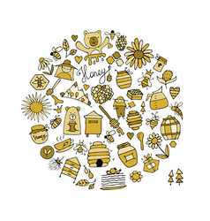 Honey apiary icons set sketch for your design vector