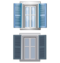 Blue gray classic window pane architect model vector