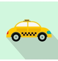 Yellow taxi flat icon vector