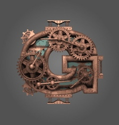 G rusted letter with gears vector