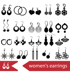 Various ladies earrings types set of icons eps10 vector
