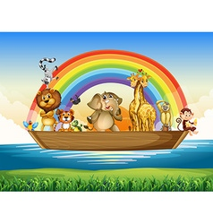Wild animals riding on rowboat vector