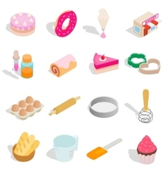 Bakery set icons isometric 3d style vector