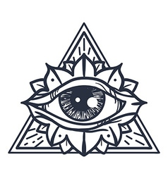 All seeing eye in triangle vector
