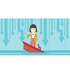 Business woman standing in sinking boat vector