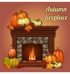 Autumn decor pumpkins and fireplace vector