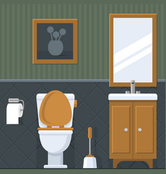 bathroom interior toilet in flat style vector image