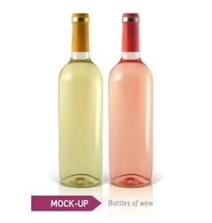 Bottles of white and rose wine vector