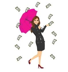 Brunette woman holding big purple umbrella vector