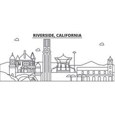California riverside architecture line skyline vector