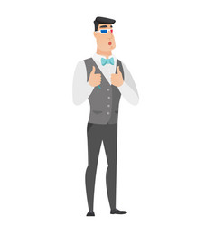 caucasian groom watching movie in 3d glasses vector image