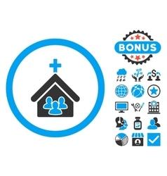 Church Flat Icon with Bonus vector image vector image