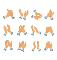 Clapping hands flat icon set vector