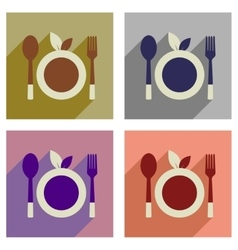 Concept of flat icons with long shadow eco cutlery vector