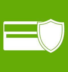 credit card and shield icon green vector image