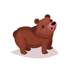 Cute brown bear cub cartoon vector
