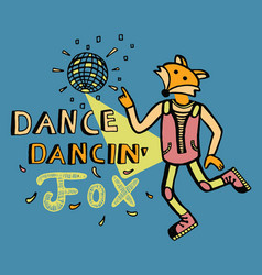 dancing fox print for kids vector image