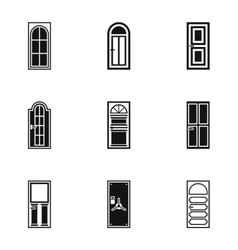 Door icons set simple style vector