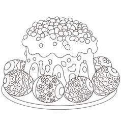 Easter eggs and a cake vector