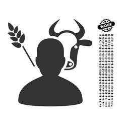 Farmer icon with work bonus vector