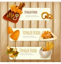Finger food banners vector