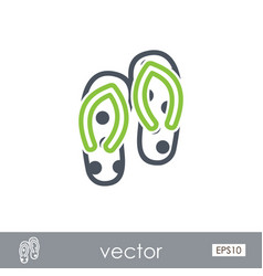 Flip flops outline icon summer vacation vector
