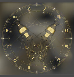 Golden amphora zodiac aquarius sign vector