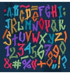Graffity grunge color font alphabet vector