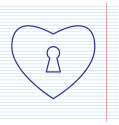 Heart with lock sign navy line icon on vector