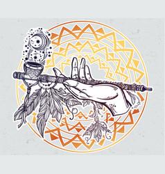 Human hand smoking magic pipe of peace vector