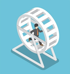 Isometric businessman running in a hamster wheel vector image